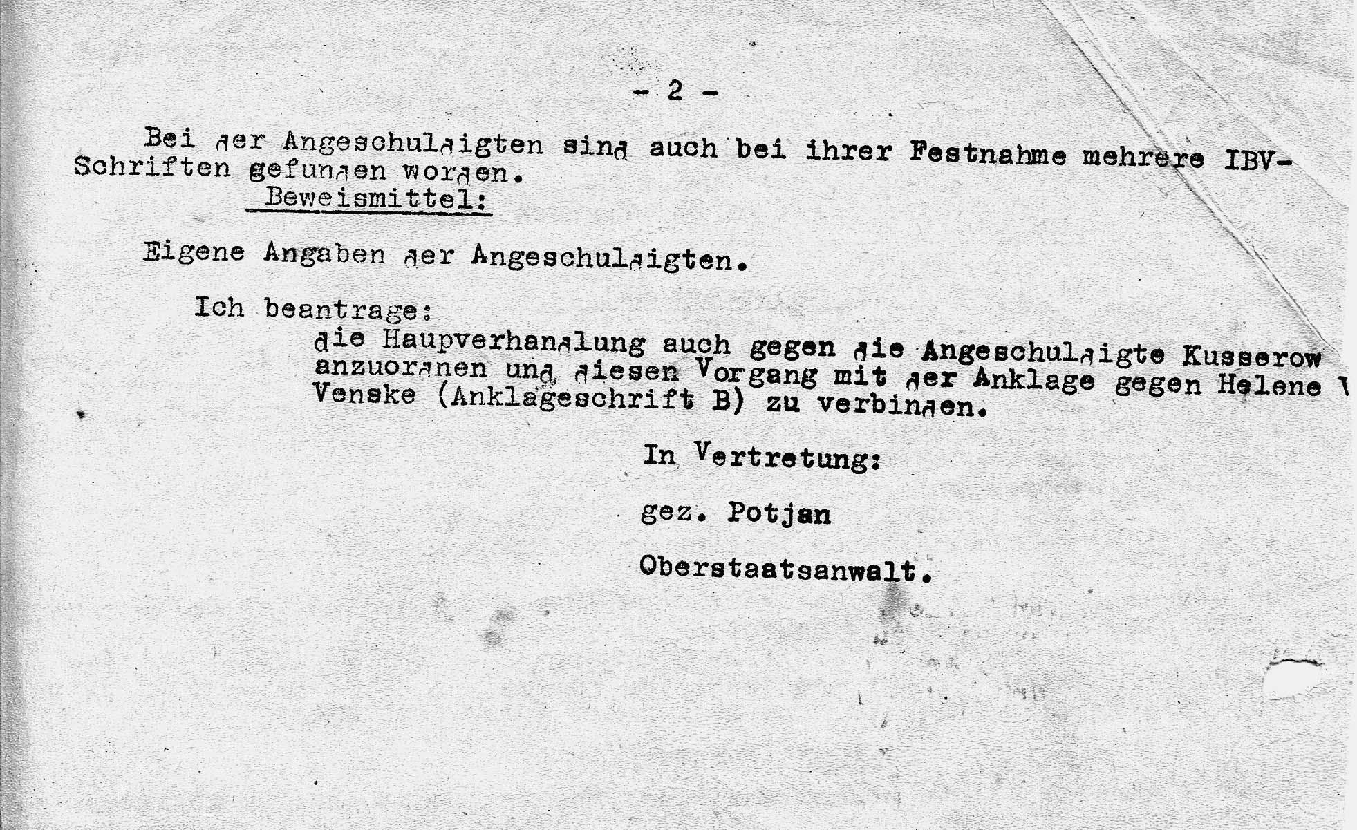 Nachtragsanklage vom 10.Dezember 1944 gegen Annemarie Kusserow (S. 2). Jehovas Zeugen, Archiv Zentraleuropa