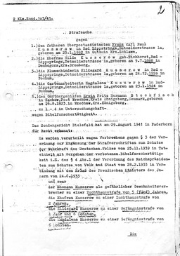 Franz Kusserow wurde am 30.August 1941 zu fünf Jahren Zuchthaus verurteilt (S. 1). Jehovas Zeugen, Archiv Zentraleuropa