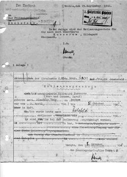 Entlassungsschein für Hildegard. Jehovas Zeugen, Archiv Zentraleuropa