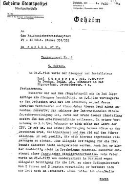 Bericht der Gestapo über Karl Heinz (S. 1). Jehovas Zeugen, Archiv Zentraleuropa