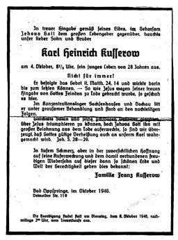 Die Anzeige zum Tod von Karl Heinz. Jehovas Zeugen, Archiv Zentraleuropa