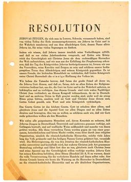 An der deutschlandweiten Verteilung der Luzerner Resolution beteiligte sich, mit Ausnahme von Franz, die ganze Familie Kusserow am 12.Dezember 1936. In dieser wurde die Entschlossenheit von Jehovas Zeugen zum Ausdruck gebracht, Gott mehr zu gehorchen als Menschen (S. 1). Jehovas Zeugen, Archiv Zentraleuropa