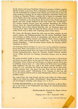 An der deutschlandweiten Verteilung der Luzerner Resolution beteiligte sich, mit Ausnahme von Franz, die ganze Familie Kusserow am 12.Dezember 1936. In dieser wurde die Entschlossenheit von Jehovas Zeugen zum Ausdruck gebracht, Gott mehr zu gehorchen als Menschen (S. 2). Jehovas Zeugen, Archiv Zentraleuropa