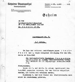 Bericht der Gestapo über Magdalena. Jehovas Zeugen, Archiv Zentraleuropa