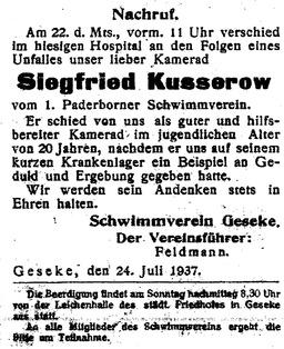 Die Anzeige zum Tod von Siegfried Kusserow. Jehovas Zeugen, Archiv Zentraleuropa
