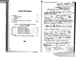 Familien-Stammbuch der Familie Kusserow, S. 2: Inhaltsverzeichnis; S. 3: Bescheinigung über die standesamtliche Eheschließung am 8.Juni 1911 zwischen Franz und Hilda (geb. Eichhorst) Kusserow. Jehovas Zeugen, Archiv Zentraleuropa