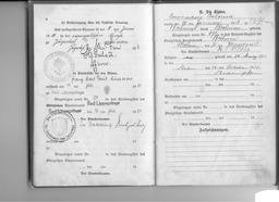 Familien-Stammbuch der Familie Kusserow, S. 4: Vermerk über den Sterbefall von Franz Kusserow am 11.Juli 1950; S. 5: Eintrag der Geburt der Tochter Annemarie am 26. Januar 1913 in Bochum. Jehovas Zeugen, Archiv Zentraleuropa