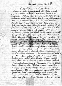 Wilhelm schrieb am 26.April 1940, einen Tag vor seiner Hinrichtung, einen Abschiedsbrief an seine geliebte Familie (S. 1). Jehovas Zeugen, Archiv Zentraleuropa