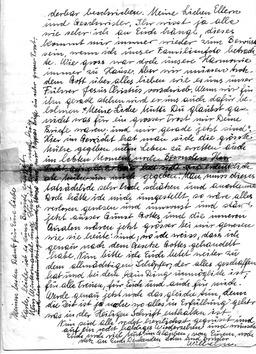 Wilhelm schrieb am 26.April 1940, einen Tag vor seiner Hinrichtung, einen Abschiedsbrief an seine geliebte Familie (S. 2). Jehovas Zeugen, Archiv Zentraleuropa
