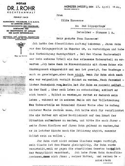Wilhelms Anwalt, Herr Dr. Rohr schrieb am 17.April 1940, kurz vor dessen Hinrichtung, einen Brief an Wilhelms Mutter mit der Bitte, sie solle ihren Sohn umstimmen (S. 1). Jehovas Zeugen, Archiv Zentraleuropa