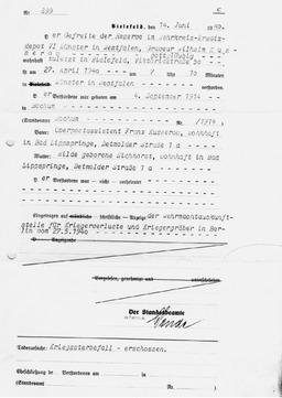 """Der Auszug vom Standesamt vom 14.Juni 1940 dokumentierte die Todesursache von Wilhelm Kusserow als """"Kriegssterbefall- erschossen"""". Jehovas Zeugen, Archiv Zentraleuropa"""
