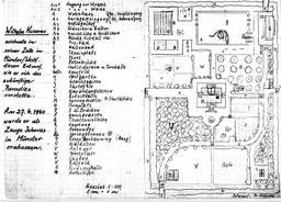 In seiner Gefängniszelle zeichnete Wilhelm diese Skizze. So stellte er sich das künftige Paradies vor. Jehovas Zeugen, Archiv Zentraleuropa