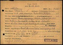 Häftlingspersonalkarte des Konzentrationslagers Buchenwald für Siegfried Meyer, Seite 1