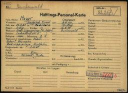 Häftlingspersonalkarte des Konzentrationslagers Buchenwald für Siegfried Meyer, Seite 2