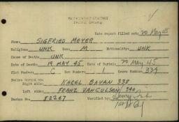 Häftlingspersonalkarte des Konzentrationslagers Buchenwald für Siegfried Meyer, Seite 7