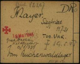 Häftlingspersonalkarte des Konzentrationslagers Buchenwald für Siegfried Meyer, Seite 8