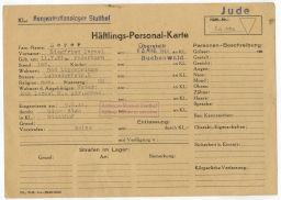 Häftlingspersonalkarte des Konzentrationslagers Stutthof für Siegfried Meyer